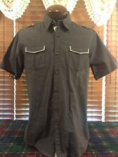 Men's VGUC 7 DIAMONDS Large Gray Black Checks SS Twin Pockets Button Up Shirt