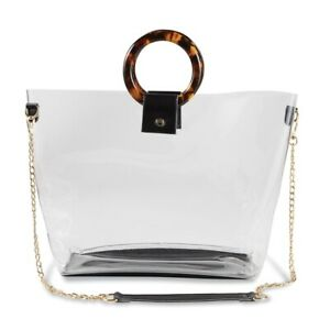 """Mud Pie E0 Sports Activities 11"""" Crossbody Strap Faux Leather Clear Stadium Tote"""