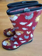 "Sloggers Boots 10"" Size 6 Red Chicken Print Women'S Rain New"