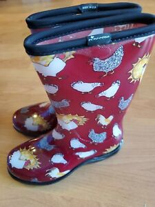 """Sloggers Boots 10"""" Size 6 Red Chicken Print Women'S Rain New"""