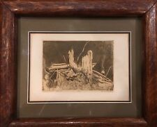 Original Midnight Tree By E.Stewart 1/10 Wood Framed Pencil Drawing
