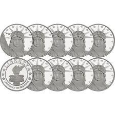 Silvertowne Lady Liberty 1 oz .999 Fine Silver Round 10 Piece Lot