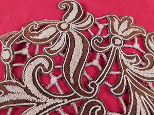 Victorian Brown Suede Cream Chenille Applique Passementerie Bodice Dress Trim