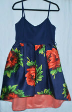 TEEZEME JUNIORS BLUE RED FLORAL HIGH-LOW FIT & FLARE DRESS SIZE 13/14 NWT