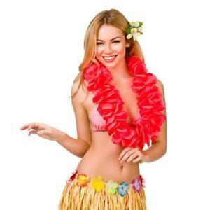 Hula Girl Hawaiian Red Large 11.5cm Petal Lei Womens Fancy Dress Accessory