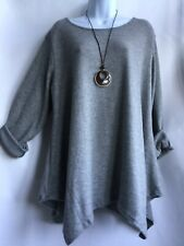 Lagenlook Soft Stretchy Warm Baggy Tunic Top & Necklace One Size 14-22 Grey
