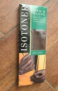 Vintage Isotoner Mens XL Driving Gloves Brown 24028 ARIS Chevron Repellent