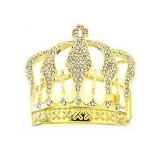 Royal King Crown Cross HIP HOP Clear Rhinestones Fashion Gold Men Belt Buckle