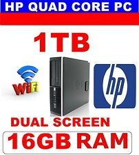 HP WINDOWS 10 QUAD CORE COMPUTER PC 16GB 1TB  DELL OR OTHER MOUSE DUAL SCREEN