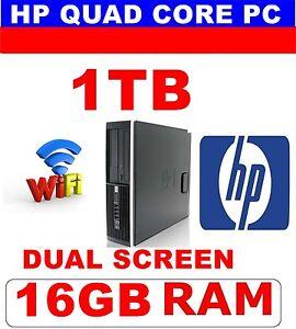 HP WINDOWS 10 QUAD CORE COMPUTER PC 16GB 1TB  DUAL SCREEN WIFI 1 YEAR WARRANTY