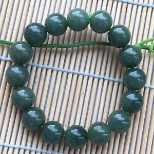 100% Natural Grade A Jade 13mm Oil Blue Jadeite Beads Bracelets A++
