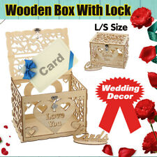 S/L Wedding Card Post Wooden Box Collection Gift Card Boxes WITH Lock   NEW