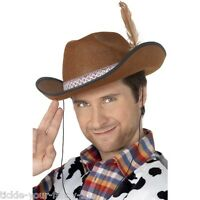 Men's Brown Dallas Cowboy Hat & Feather Fancy Dress Texas Oil Tycoon Stag Fun