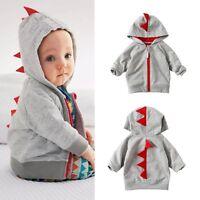 Kids Baby Boys Casual Dinosaur Zip Up Hoody Jacket Sweatshirt Hooded Zipper Top