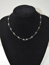 Vintage Long Chain Link & Captive Blue Beaded Necklace
