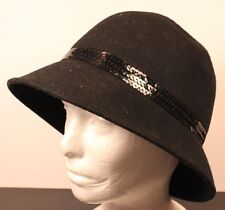 AUGUST 100% Wool Black Felt Cloche Bonnet Hat Women's Sequins Band One Size