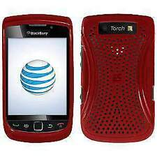 Perforated Retro Sports Hard Shell Case Cover for BlackBerry Torch - Red