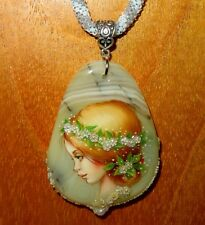 Pendant Stone & Shell SHENSHIN SUMMER GIRL hand painted beaded necklace signed