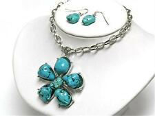 Turquoise Flower Floral Silvertone Chain NECKLACE EARRING SET