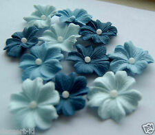 BLUE shades large flowers (3cm) sugarpaste  edible blossom cupcake topper