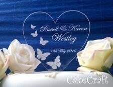Engraved Heart Acrylic Personalised Wedding engagement cake toppers decorations
