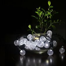 30x Bright White Globe Crystal Ball LED Garden Lights Solar Power String Lights