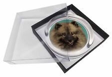 More details for keeshond dog glass paperweight in gift box christmas present, ad-kee1pw