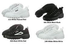 FILA DISRUPTOR II Black Red White Nubuck Leather  FW01653 Active Life Shoe  MEN