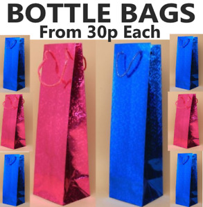 BOTTLE BAGS FROM 30P EACH WINE GIFT BAGS WITH HANDLES PINK BLUE WHOLESALE PRICES