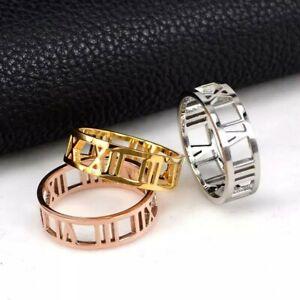Roman Numerals Titanium Steel Ring Wedding band 6mm Women Men 18K Gold Filled