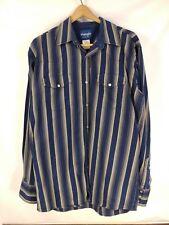VTG Mens WRANGLER Western Rockabilly Blue Beige Striped Shirt Pearl Snap Large T