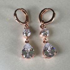 F18 Plum UK ROSE GOLD GF 34x7mm huggie hoop & dangle earrings sim diamonds BOXED