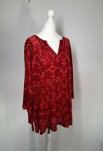 Lucky Brand Top UK 18 / 20 Shirt Tunic Women Red Embroidered Aztec Navajo Boho