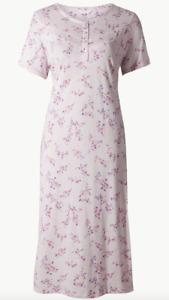 exM&S Floral Vintage Style Nightshirt Nightdress Pyjamas Summer PJ Size 16-18