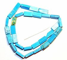 T269f Blue Turquoise 13mm Flat Rectangle Magnesite Gemstone Beads 15""