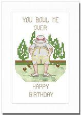 LAWN BOWLS - LADY BOWLER - BIRTHDAY - CROSS STITCH CARD KIT