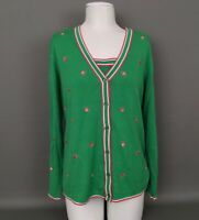 Women's QUACKER FACTORY Small BEE Embroidered Cardigan Sweater Twin Set-MINT!