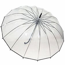 Men Rain Umbrella Auto Open Large Windproof Dome Shaped Transparent Clear NEW