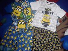 NUOVO fantastico Natale 4x Bundle MINION PIGIAMA SET o Boy T-shirt Pantaloncini Set 3/4 anni