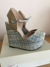 Brand new Blue Cream Wedge Sandals by L K Bennett, Size 4, Boxed