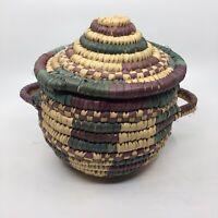 Vintage Coiled Lidded Handled Blue Purple Storage Basket