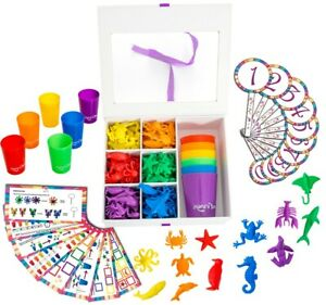 MontessoriMath Learning Game, Matching Cups + Ocean Animal Counters, 110pc Set
