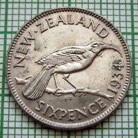 NEW ZEALAND GEORGE V 1934 SIXPENCE 6 PENCE, HUIA BIRD, SILVER HIGH GRADE