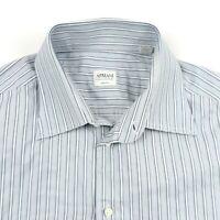 Armani Collezioni Luxury Shirt Size 16 1/2 Blue Striped French Cuff
