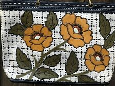 Isabella Fiore Woven Purse Floral Leather Applique Flowers Spring Tote Handbag