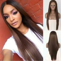 Long Straight Brown Synthetic Lace Front Wig Full Head Heat Safe Hair Glueless