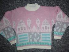 Vintage 80's LaVista Sparkly Pastel Fairy Kei Cropped Sweater Sz M/L