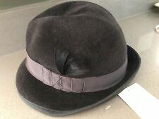 Tracy Watts Fedora Hat Unisex Charcoal 100% Wool Felt 23.5 M Handmade Evalu $399