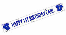 PERSONALISED BANNER NAME AGE PHOTO BIRTHDAY FOOTBALL 15th 16th 17th 18th blue K2