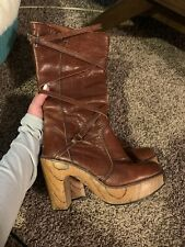 RARE Vintage Brown ZODIAC leather Platform tall calf BOOTS size 6.5 & 7